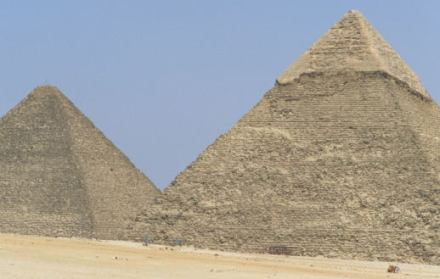 Egypt - Cairo - The Pyramids of Cheops and Chephren at Giza
